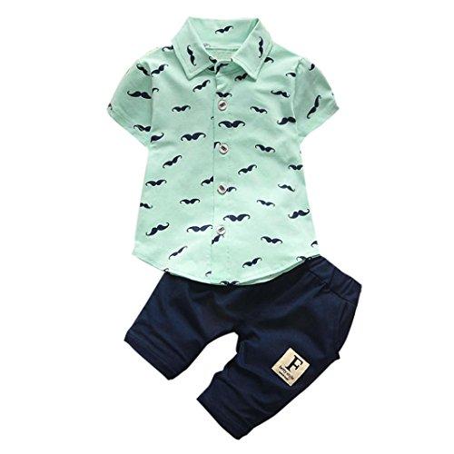 LuckyGirls 2 Stück Kinderkleidung Set Baby Jungen Outfits Bart Kurzarm Shirt Tops + Kurze Hosen (6M, Grün)