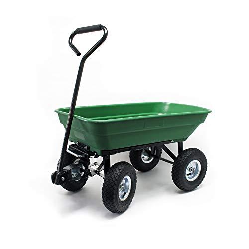 WilTec Chariot de Jardin à Main avec Benne basculante Volume 55L Capacité de Charge 200Kg Remorque Brouette