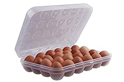 Absales Clear Large Capacity Portable Home Picnic Plastic Egg Box Case 24 Holder Storage Container Fridge, egg box for 24 eggs, Set of 1 Pieces