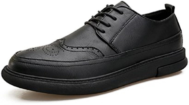 LYZGF Zapatos De Cuero Con Cordones Retro Para Hombre,Black-41 -