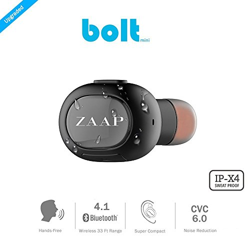 ZAAP® (USA) BOLT Bluetooth 4.1 Mini Headset Wireless {Award Winning} Headphone/Earbud, Secure Fit for Office, Gym, Driving & Outdoor with Built-in Microphone, Hands-free calling(IPX4 SWEAT-PROOF). World's Smallest Headset & Cable free. Universal Compatibility- [Black]