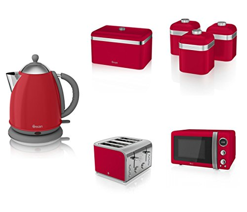 Swan Kitchen Appliance Retro Set - Red Microwave, 1.7l Jug Kettle, 4 Slice Toaster, Retro Breadbin And 3 Canisters Set