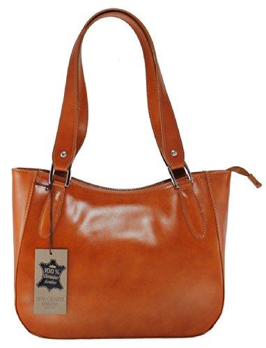 CTM Damenhandtasche Stylish, 34x23x10cm, 100% echtes Leder Made in Italy Leder
