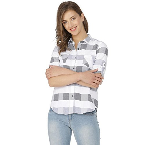 Campus Sutra Women's Plain Regular fit Shirt (AZ18SHRT_CHECK4_W_PLN_AZ_Wh: Gr_Small)