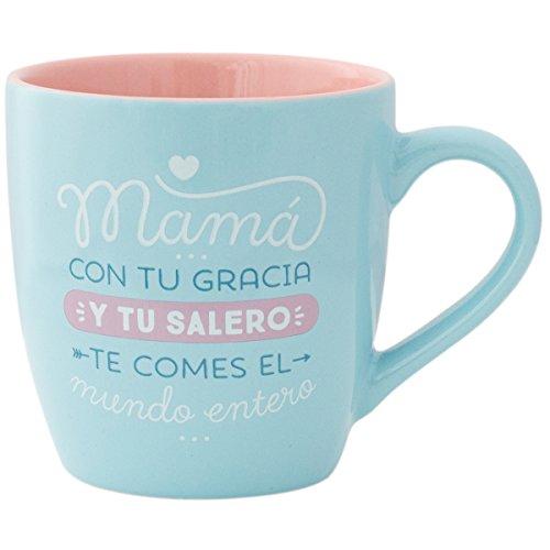 Mr. Wonderful Taza Mamá con Tu Gracia y Tu Salero Te Comes El Mundo Entero, Cerámica, Azul Celeste, 9x8x9 cm