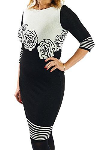 Berry Schlank machendes Kleid schwarz 3/4 Arm Gr 38- 56 Etuikleid Strickkleid Große Größen
