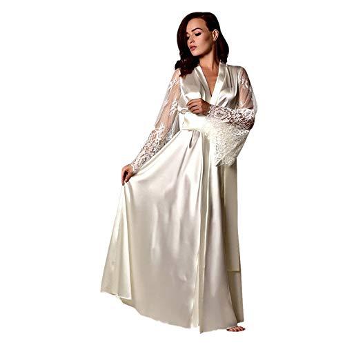 8f71f8f9ad9676 Dorical Damen Lange Seide Kimono Morgenmantel Babydoll Dessous Bath Robe  Versuchung Bar Party Unterwäsche Nachthemd Babydoll G-String(Weiß,Medium)