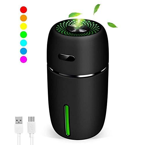 Dricar Mini LED Luftbefeuchter, USB Raumbefeuchter mit 7 LED Farbwechse, 200ml Aromatherapie Ätherisches Öle Luftbefeuchter Tragbarer für Baby Auto Kinderzimmer Schlafzimmer