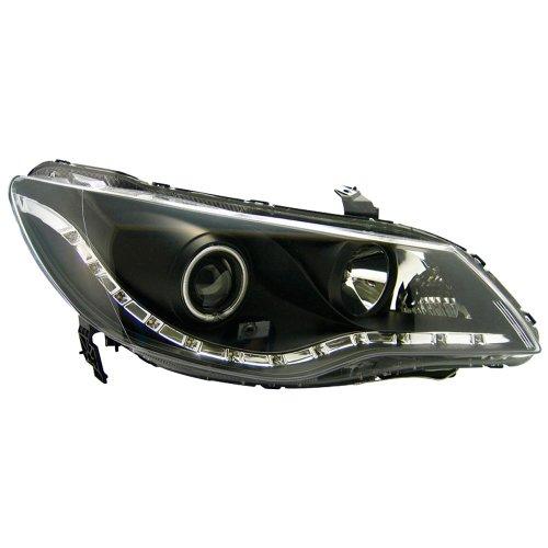 AutoStyle J27H38XB - Fanale anteriore aspetto luce di marcia diurna, per Honda Civic Sedan (ibrida), a partire da 05, colore: nero