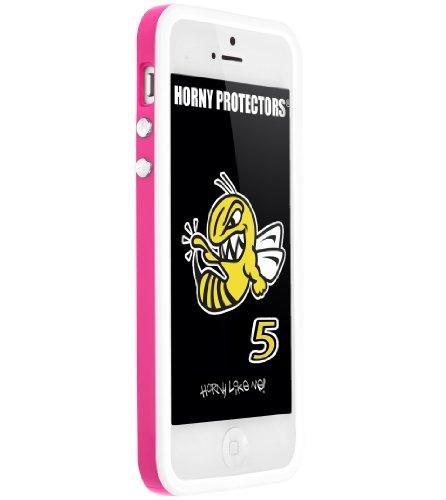 Horny Protectors Cover Case Bumper Schutzhülle für Apple iPhone 5 TPU Silikon lila/schwarz rosa - weiß