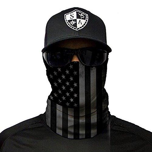 lds ** 40+ Designs verfügbar ** Qualitäts Bandana / Multifunktionstuch / Schlauchtuch / Halstuch aus Stoff & SPF 40 - Face Masks von SA Company, Blackout American Flag (Flag Bandana)
