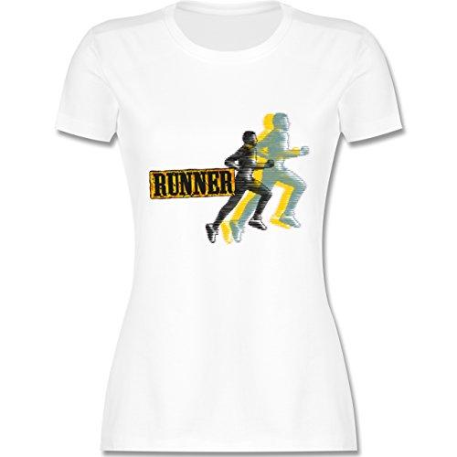 Laufsport - Runner - tailliertes Premium T-Shirt mit Rundhalsausschnitt für Damen Weiß