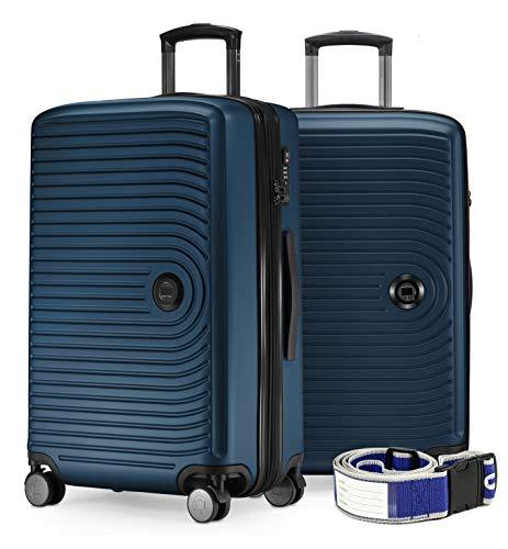 Mitte - Handgepäck Trolley, Bordgepäck mit 8 cm Volumenerweiterung, TSA, 4 gummierte Doppelrollen, 55 cm, 55 L, Weiß