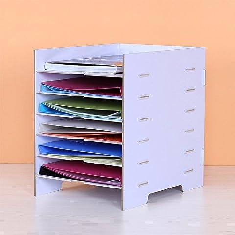 Mesh letteratura parete Titolare Titolare di File Antigraffio in Front-Load Desk lettera i vassoi di deposito,Rack portariviste in legno Informazioni Cubbyholes 27,5x35x35cm, bianco