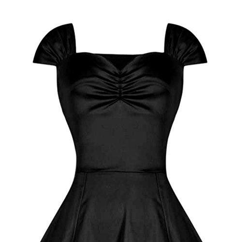 Aivtalk Classique Robe de Soirée Cocktail Vintage 50's 60's Style à Mancheron - S- 2XL- Rouge /Noir Noir#1