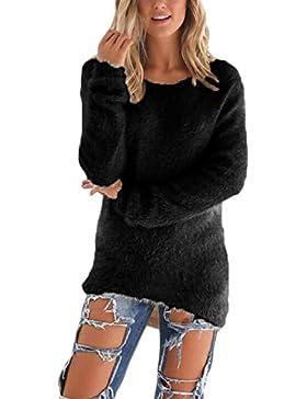 La Mujer Casual Pullover Fleece Sweater De Punto Grueso De Alta Baja