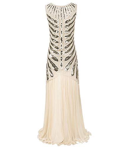 WNLZL Damen 1920er Jahre Prom Fransen Pailletten Lange Flapper brüllen Gatsby Kleid für Charme Prom Party inspiriert Cocktail Flapper Kleid,Apricot,M