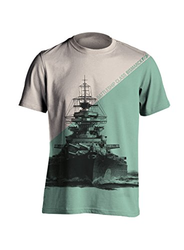 World of Warships asymmetrisches Bismarck T-Shirt Weiß-türkis XL