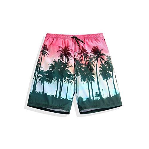 HIAO Sommer Männer Strand Shorts Polyester Motion Komfortable Freizeit Urlaub Küste Shorts Rosa Kokosnussbaum Muster (größe : 2XL) - Küste Hose