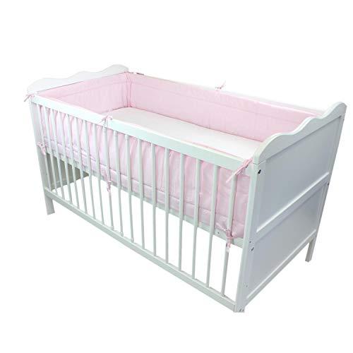 TupTam Baby Nestchen für Babybett Gemustert, Farbe: Rosa, Größe: 420x30cm (für Babybett 140x70)