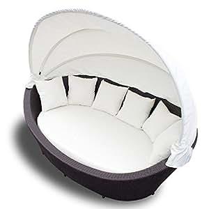 xxl rattan sonneninsel sonnenliege strandkorb gartenmuschel sitzgarnitur gartenliege. Black Bedroom Furniture Sets. Home Design Ideas