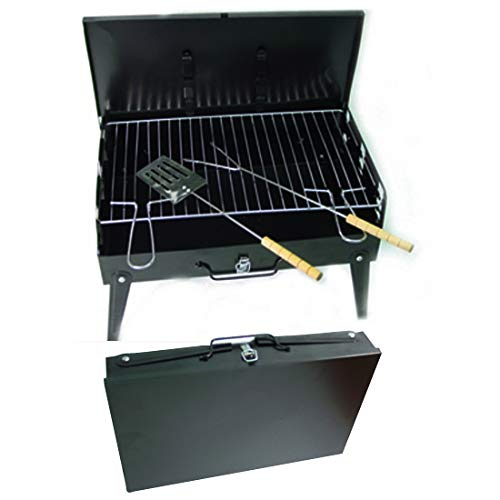 41mrDESm9hL. SS500  - Denny Shop Black Barbecue Grill Fordable Portable with Carry Handle & Tools Charcoal BBQ by Crystals®