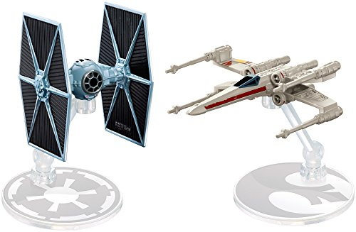 Mattel Hot Wheels Star Wars Rogue One Tie Fighter Blue vs. X-Wing Red 2 Wings Open Vehicle (2 Pack)