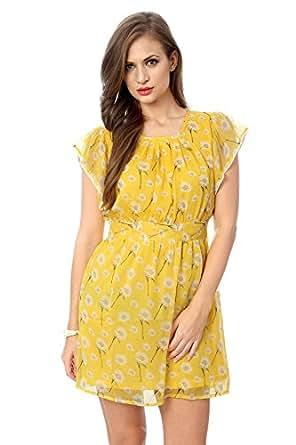 Honey by Pantaloons Women's A-Line Dress (205000004461233, Yellow, X-Large)