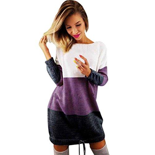 Sommer Jacke Stricken (Damen Pullover, VJGOAL Damen Mädchen stricken Party Casual Urlaub O Kragen Kleid Langarm Frühling Wintwe Tops Pullover (S, Lila))