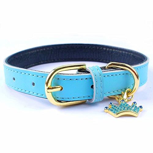 Hundehalsband von Pet Artist aus weichem, gepolstertem Leder; für kleine Hunde, Katzen, Welpen, Chihuahuas, niedlich mit extra Kronen-Anhänger; Rosa/Blau/Rot/Schwarz/Braun -