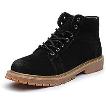 Botas Martin para Hombre Botas de Cuero Suave con Cordones para Hombres Calzado de Trabajo Chelsea