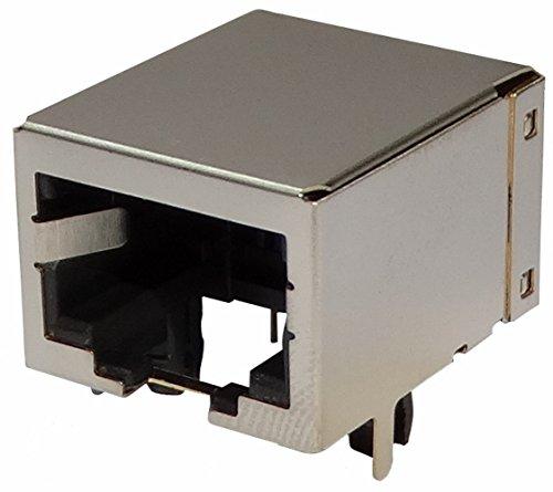 Aerzetix: 5x geschirmte RJ45-Steckverbinder Ethernet-Buchse 8p8c 8-Pin-Löten PCB THT -