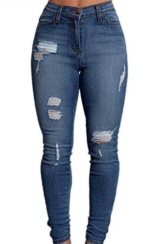 Alto Per Le Donne Alla Vita Strappata Buchi Slim Demin Jeans Blue