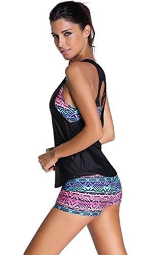 Nuoreel Damen Tankini mit Shorts Zweiteilig Bademode Strand Yoga Laufen Sport Bikini Set bunte