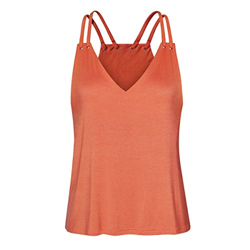 Solide Sleeveless Weste Bluse Lady Casual V-Ausschnitt Aufdruck kurz elegant Yoga Tank Tops T-Shirt Orange, Rosa, Blau, Mintgrün ()
