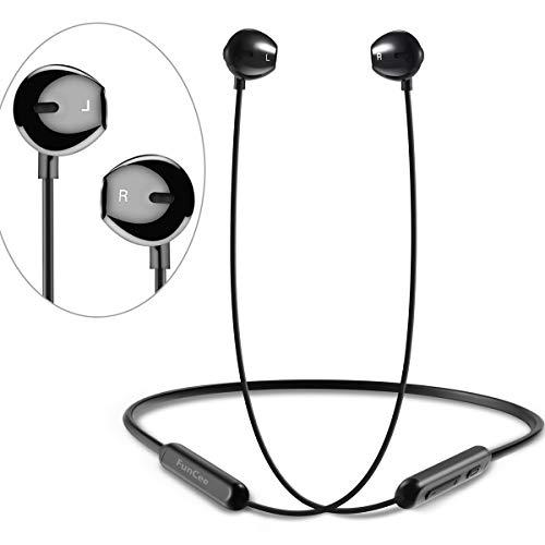FunCee Cuffie Bluetooth 5.0 - supportano HiFi 7-9 ore di riproduzione, bassi ricchi, Auricolare Bluetooth senza fili sportive da running, con microfono incorporato per iPhone Android Samsung Huawei
