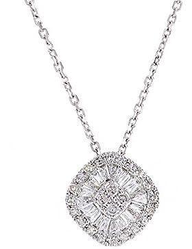 Revoni - 18 Karat Weißgold-Halskette mit Diamantanhänger in Baguette-Design