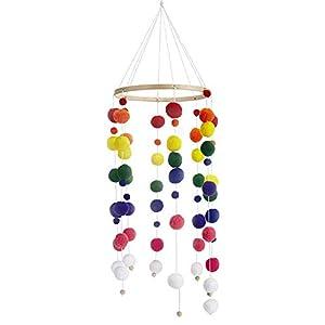Babybett Mobile Windspiel Rassel Spielzeug aus Filz Ball und Bambus, Neugeborenen Kinderzimmer hängende Bettglocke, Holz Ornament Geschenk für Baby Mädchen oder Jungen. (a1)