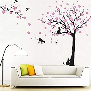 Rocwart Family Tree Wall Stickers - Living Room Kids Baby Nursery Wall Decoration Removable Vinyl Cat Pink Flower Tree Wall Art Decal 66.9x103.9