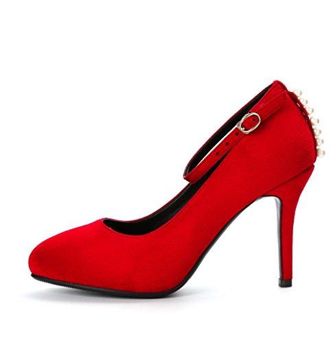 Rouge Talon Odomolor Dépolissement à Boucle Femme Haut Pointu Chaussures Légeres Mosaïque RxxqvTw