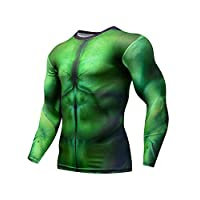 Pizoff Mens Compression Hulk Top Base Layer Gym Long Sleeve Running Workout T-Shirt 01230002X09+M