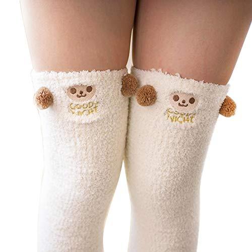 Binoster Netter Schaf Schenkel-hohe lange gestreifte Socken-Korallenrote Vlies-warme weiche über Kniestrümpfe, beste Weihnachtsgeschenk-Frauen und Mädchen (Schaf)