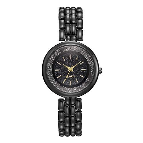 Armbanduhr für Damen/Dorical Frauen Analog Quarzuhr Armbanduhren Glass-Zifferblatt Uhr Fashion Uhr Stahlband Armband Simulierter Diamant Dial Elegant Armbanduhr(Schwarz)