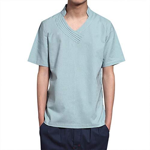 Yazidan Herren Sommer T-Shirt Stehkragen Slim Fit Casual Baumwolle-Anteil | Cooles weißes schwarzes Männer Kurzarm-T-Shirt Hoodie-Sweatshirt