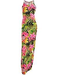 Floma Frauen Blumendruck weiche Stretchy Krepp Riemchen Cami Damen Maxi Kleid