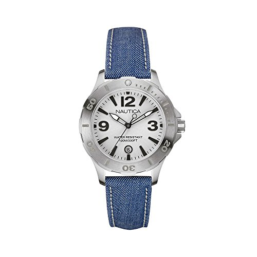NAUTICA NAI11504M LADIES BLUE CLOTH STAINLESS STEEL CASE DATE QUARTZ WATCH