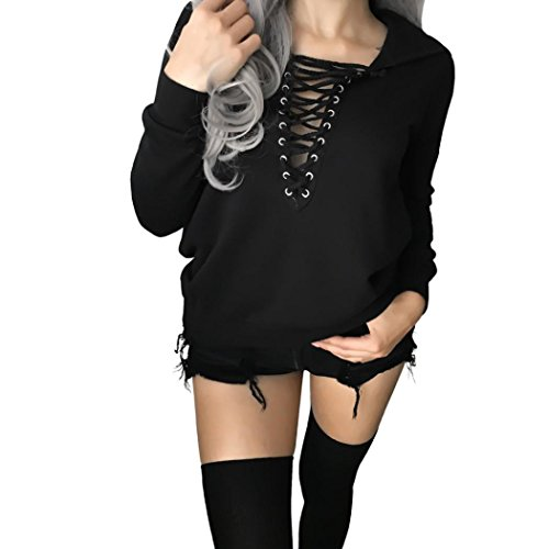 Damen Oberteile,DOLDOA Tiefe V-Ausschnitt Vorne Bandage Langarm T-Shirt Top Bluse Pullover Outwear (EU: 42, Schwarz,Tiefe V-Ansatz Vorne Bandage Oberteile) (Zebra-print-v-ausschnitt)