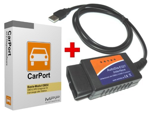 AutoDia E327 mit CarPort Software Vollversion Basis-Modul OBD2 USB Diagnose Interface OBD2 für alle Fahrzeugmarken