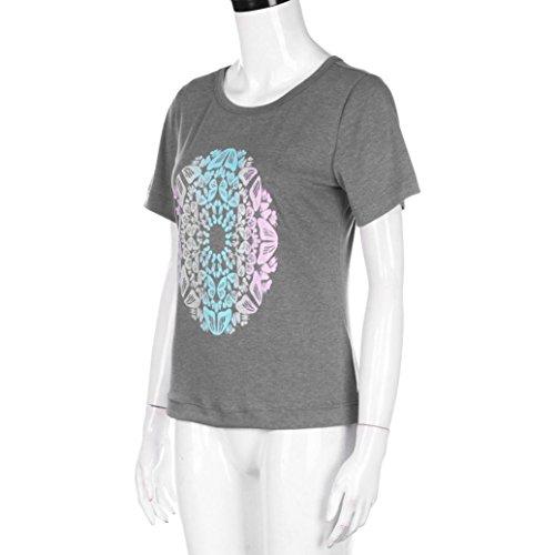 WOCACHI Damen Sommer TShirts Mode Frauen Schmetterling druckte kurzes  Hülsen OAnsatz TShirt Oberseiten Casual Bluse Grau