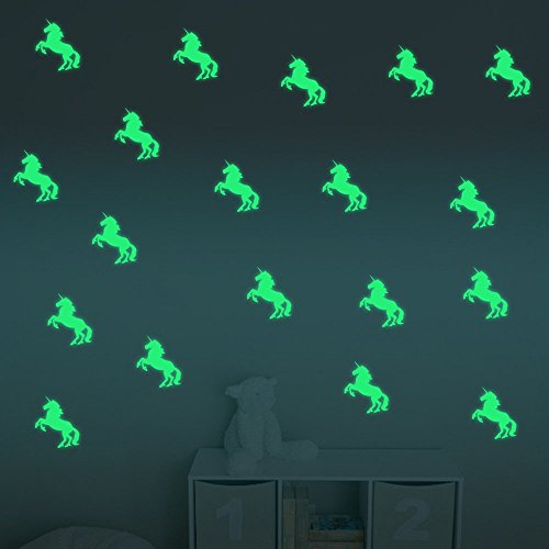 ufengke décor ufengke® 10-pcs Unicorn Wall Decals Fluorescence Stickers Glow in The Dark, Living Room Bedroom Removable Wall Stickers Murals